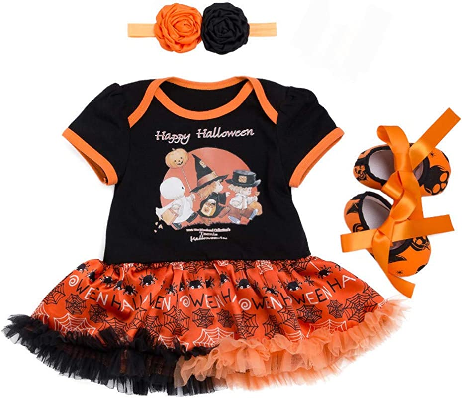 RoDeke 4PC Toddler Baby Girls Pumpkin Halloween Costumes Romper Tutu Dress Headband Shoes Socks Set