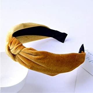 MOPOLIS NEW Womens Headband Cross Hair Band Wide Side Velvet Solid Color Exotic Hairband | Color - Yellow