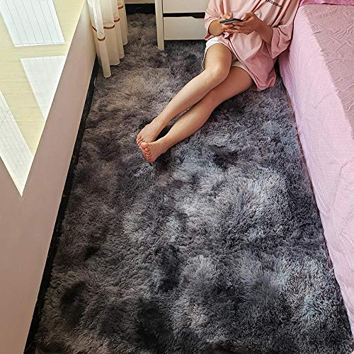 Osuter ins Net Red Felpa Alfombra de Noche Tie Dyeing Living Room Coffee Table Mat Cute Girl Dormitorio Alfombra Room Full-3 × 2 Metros_Gris Oscuro