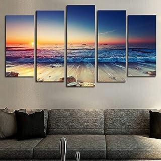 Sunset Beach Wall Art Canvas Pictures Ocean Waves Coast 5 Piece Canvas Romantic Seascape Painting Prints Contemporary Artw...