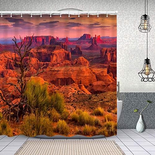 GIKIM Waterproof Shower Bath Curtains Hunts mesa Navajo Tribal Majesty Place Near Monument Valley Arizona USA Cloth Fabric Bathroom Decor with Hooks