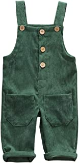 Sponsored Ad - Baby Boy Girl Corduroy Overalls Solid Suspender Bib Pants One-Piece Strap Jumpsuit Pocket Fall Winter Outfit