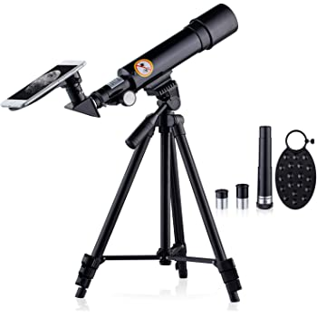 Phone Adapter HUTACT Telescope for Kid HD 90X Refractor Telescopes for Astronomy Adjustable Tripod Moon Filter,Compass Moon Map