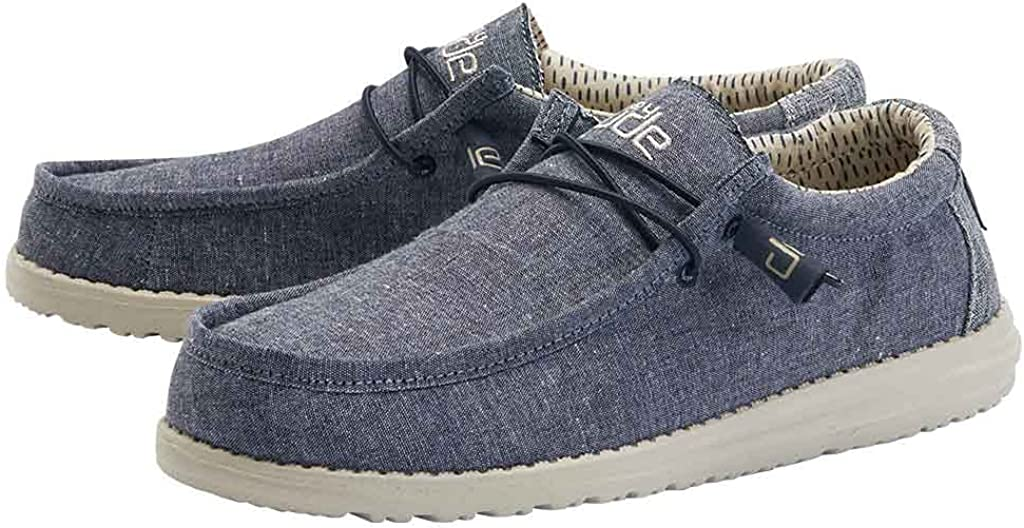 Free shipping on posting reviews Hey Dude Men's List price Wally Navy Size Chambray