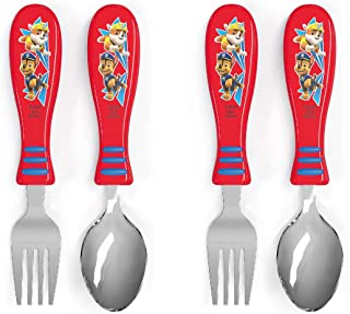Zak Designs Paw Patrol Kid Flatware Set with Fun Character Art on Both Utensils, Non Slip Fork and Spoon Set is Perfect fo...