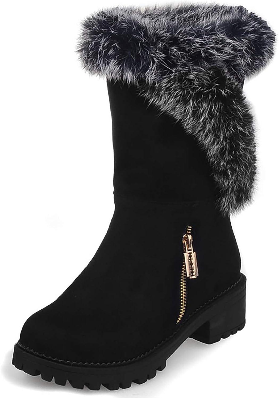 HEETIST Women's Faux Fur Lined Chunky Block Mid-Calf Side Zipper Warm Boots