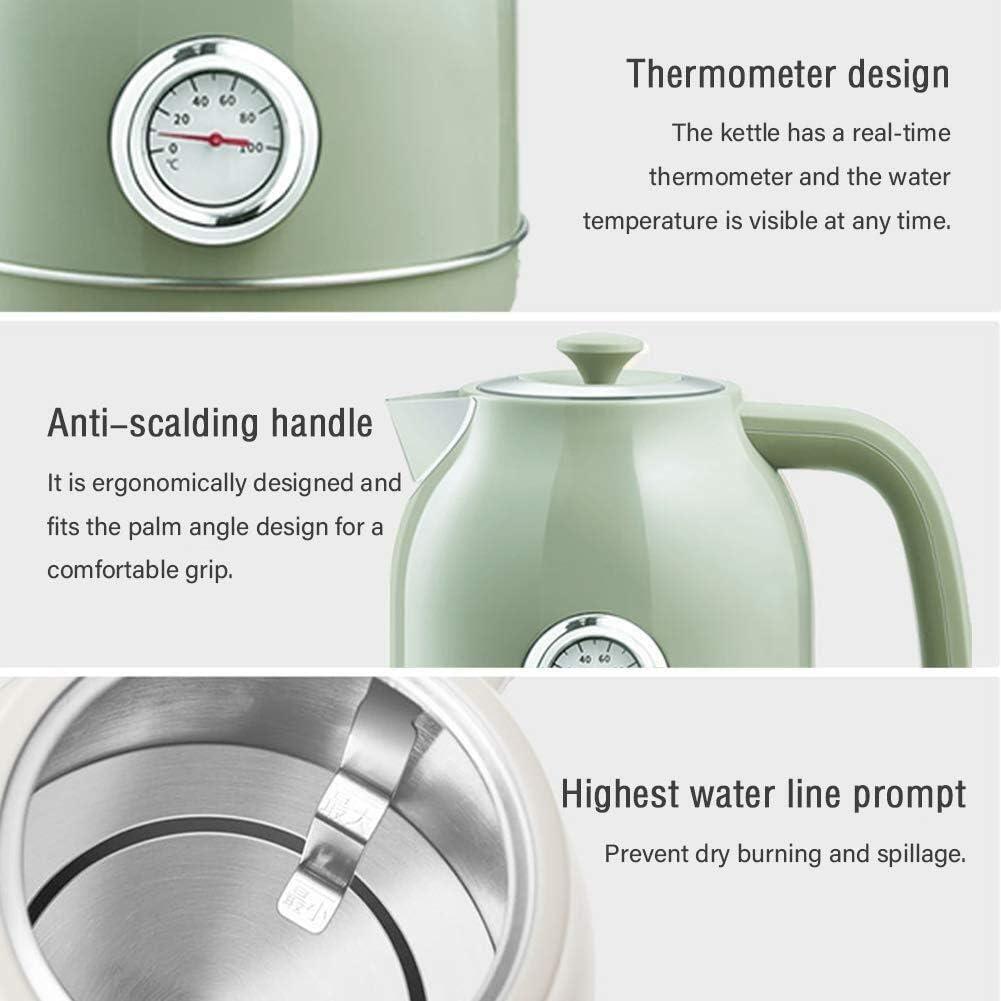Wyxy Bouilloires Bouilloire électrique, Bouilloire en Acier Inoxydable de 1,7 Litre, idéale pour l'eau Chaude 1800W Blanc Rapide (Couleur: Vert) Green