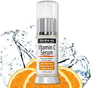 Hyaluronic Acid Vitamin C Serum for Face - Organic Skin Treatment to Repair Sun Damage and Reduce Wrinkles - 1.25oz