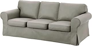 IKEA Ektorp 3 Seat Sofa Cotton Cover Replacement is Custom Made Slipcover for IKEA Ektorp Sofa Cover (Light Gray Durable Cotton)