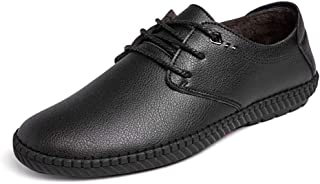 HaiNing Zheng Oxford Shoes for Men Formal Shoes Lace Up Style Microfiber Leather Fleece Inside Simple Pure Color Low Top (Color : Black, Size : 7 UK)