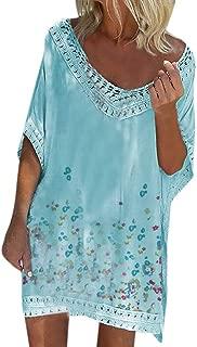 RUIVE Women's Beachwear Cover Up Bohemia Plus Size Batwing Sleeve Shirt Dresses Summer Casual Loose Mini Sundress