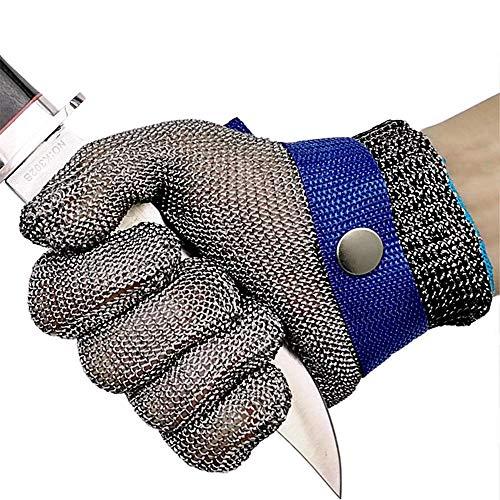 GuoYq Schnittschutz-Handschuhe,Schnittschutz Stichfester Fleischerhandschuh aus rostfreiem Stahl mit Metallgitter, Schutzstufe 5