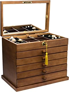 ZIWEIHUA Extra Large Wooden Jewelry Box Jewelry Armoire Ring Necklacel Gift Storage Box Organizer