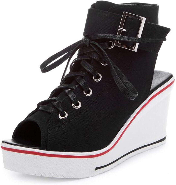 COVOYYAR Women's Peep Toe Wedge Sneakers Fashion Canvas shoes High Pump