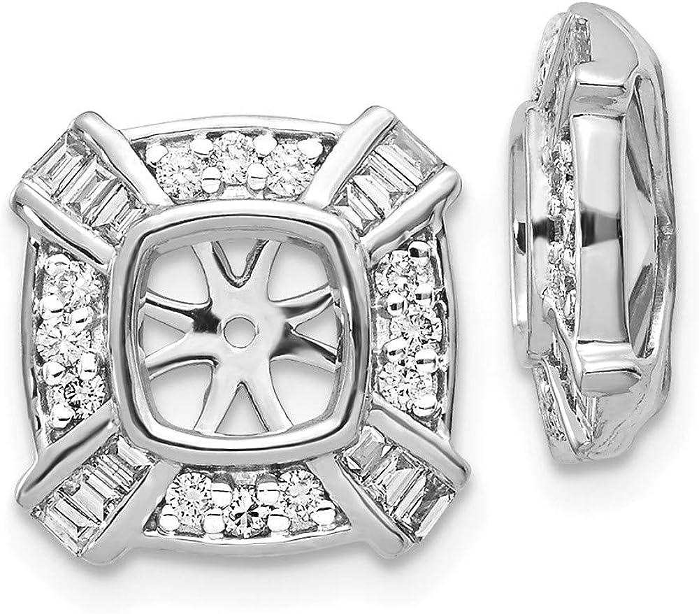 14K White Gold Diamond Square Earring Jackets 4.75 mm Opening for Stud Earrings (0.502Cttw)