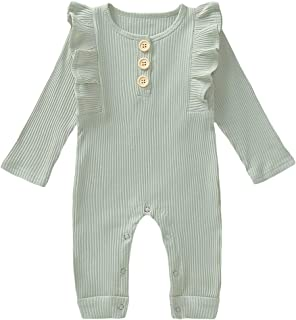 Qozearv Newborn Baby Girl Cotton Line Fall Clothes Long Sleeve Lace Romper Kids White Jumpsuit Bodysuit Autumn Outfit
