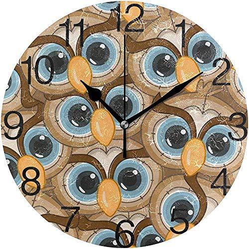 L.Fenn Owl Eyes Design Ronde wandklok, stille non-ticking olieverfschildering, decoratief voor home kantoor