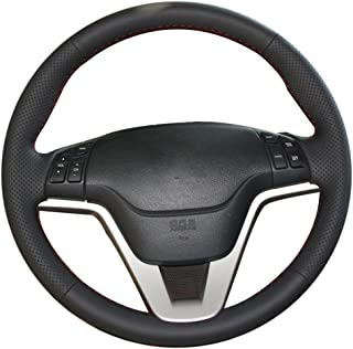 XuJi Hand Sewing Black Genuine Leather Side Hole Red Thread Steering Wheel Cover for Honda old CRV