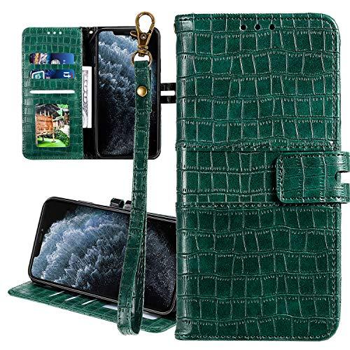 Nadoli Cuir Coque pour Samsung Galaxy S7 Edge,Crocodile Modèle Luxe Homme Femme Pu Supporter Portefeuille Flip Protecteur Couverture Housse avec Porte-Cartes et Dragonne,Vert