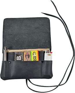 Hide & Drink,  Rustic Leather Tobacco Pouch,  Smoking and Field Notes Case Handmade Includes 101 Year Warranty :: Charcoal Black