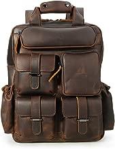 Tiding Vintage Men's Genuine Crazy Horse Leather 14 Inch Multi Pockets Laptop Backpack Shoulder Bag Travel Bag Dark Brown