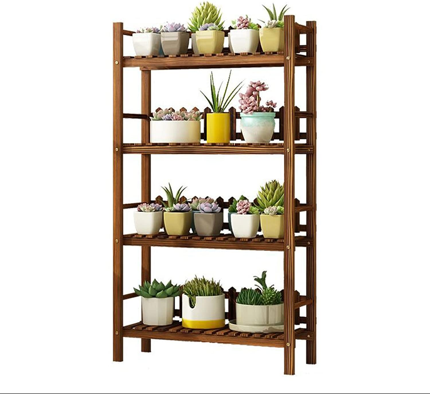 Flower stand Solid Wood flower stand Plant Stand Indoor Balcony flower stand Multi-Layer Floor Shelf Three-Dimensional flower stand (Size   L)