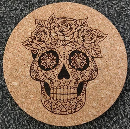 GTBITALY Chef - Salvamanteles de corcho cortado con láser, diseño de calavera mexicana con 3 rosas en cruz y diamantes para cocina, idea de regalo de 18 cm