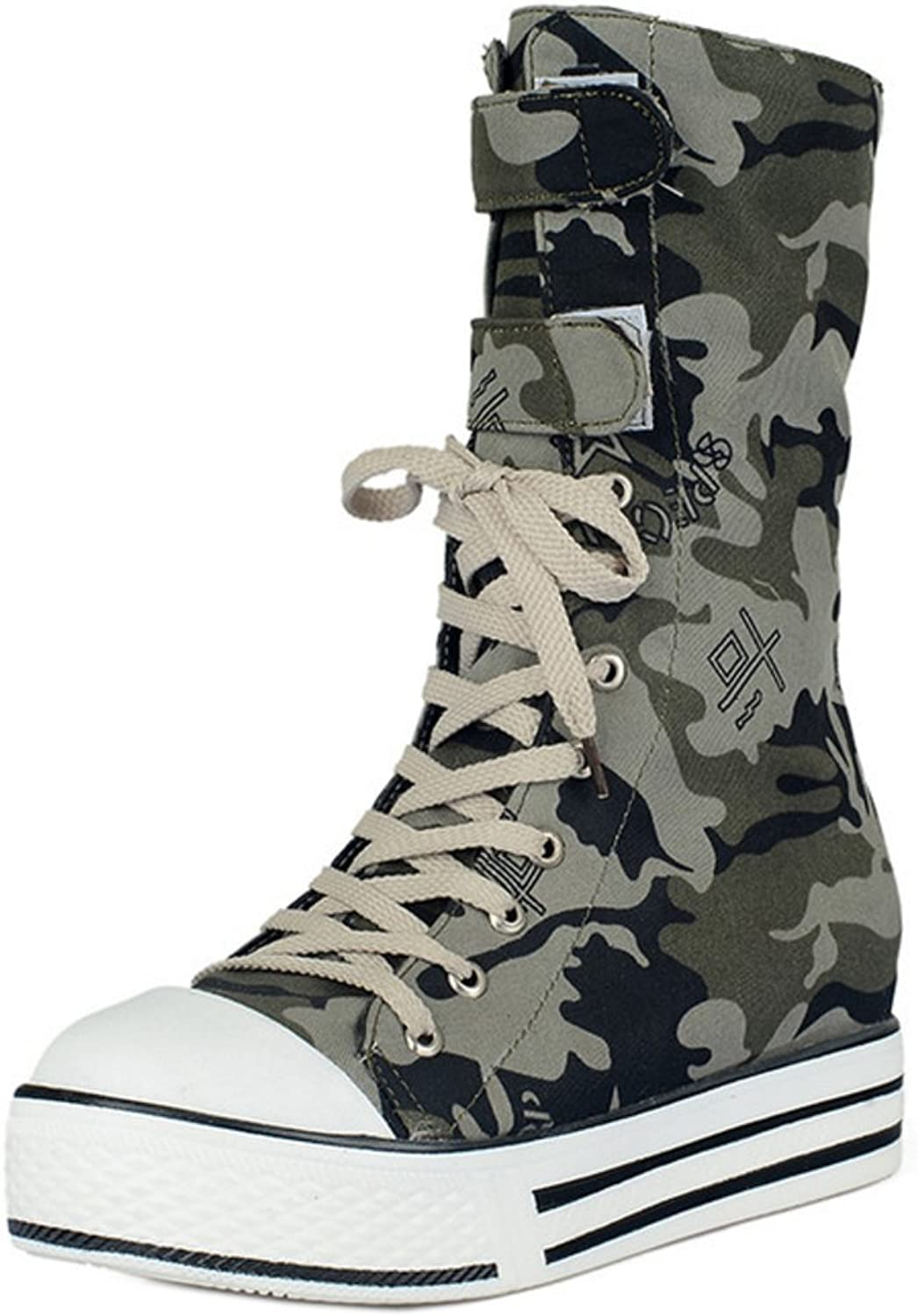 TAOFFEN Women Fashion Lace Up Platform Short Boots Army Green Height shoes