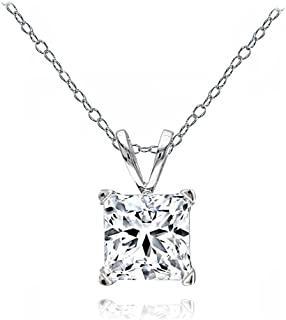 Sterling Silver Princess-Cut 7mm Solitaire Necklace Created with Swarovski Zirconia