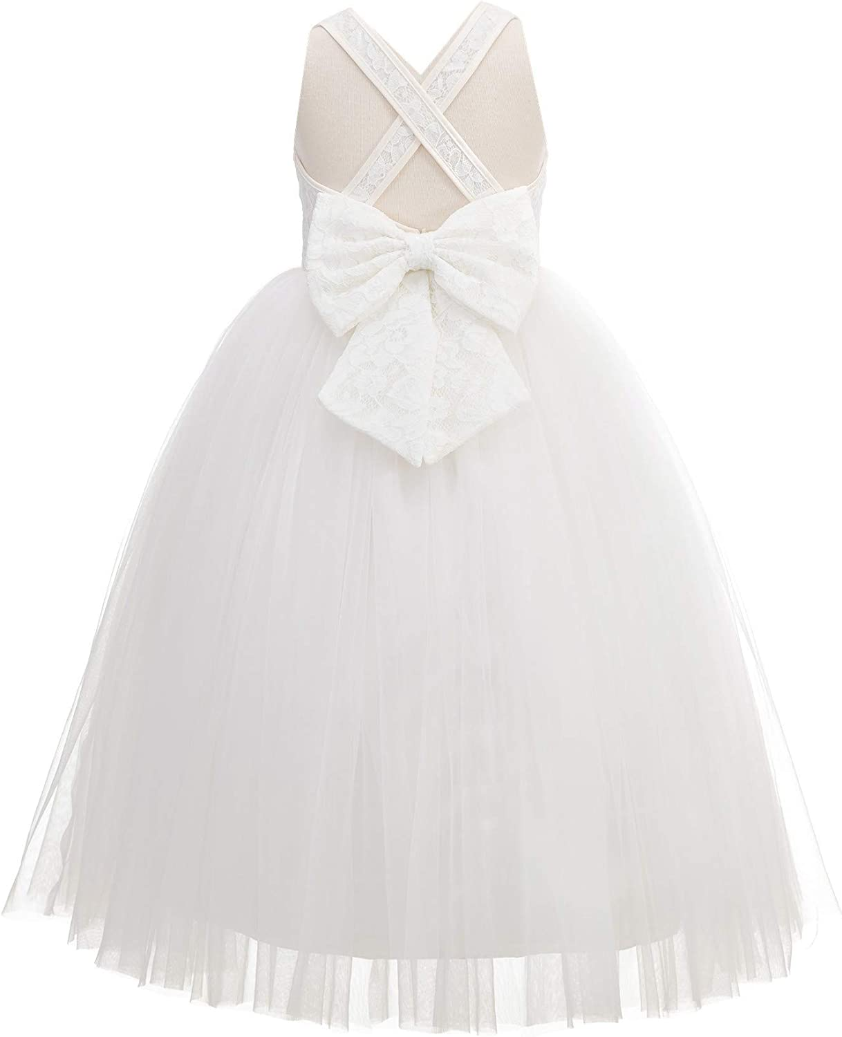 Crossed Straps Lace Flower Girl Dress Junior Holy Communion First Baptism 204