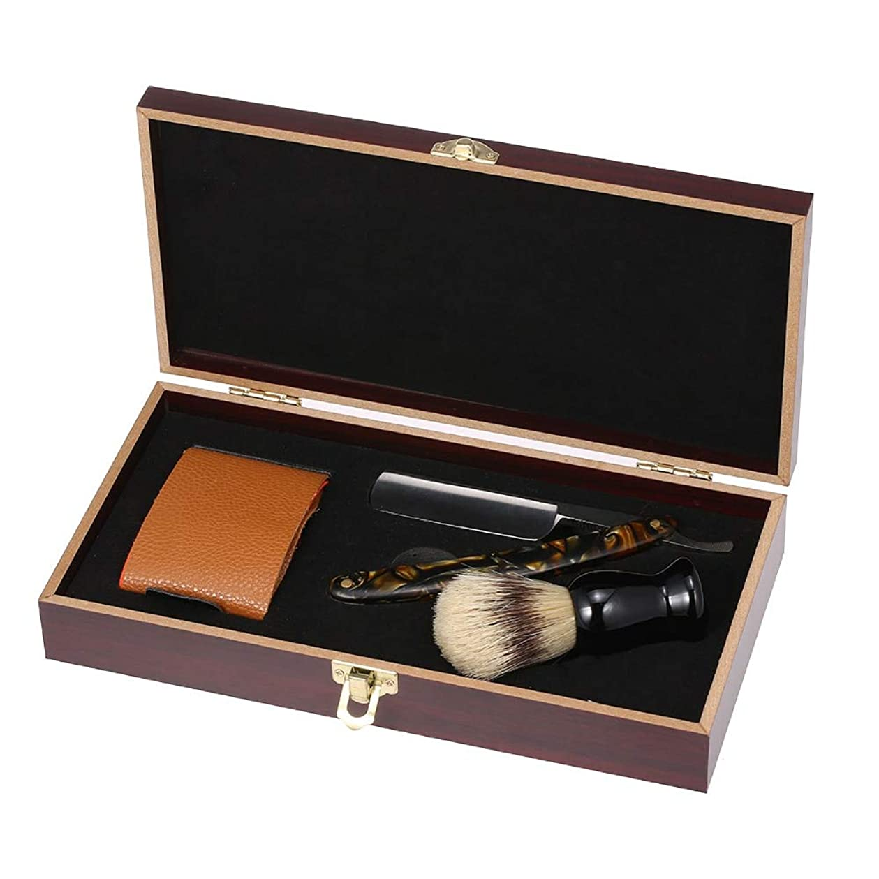 廃棄入場こするMen Shaving Straight Razor Blade Replaceable Manual Acrylic Handle Classic Barber Razors Blade Holder Clipper 1Case Men Gift
