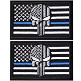 2 Pieces Dead Skull USA American Flag Blue Line Tactical Morale Hook & Loop Patch