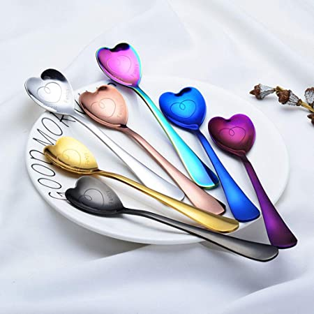 Cocktail Stirring Spoon for Tea Cute holiday gift Dessert Spoon,T-swan Heart-Shaped Spoons 18//10 Stainless Steel Spoon Set of 4 Sugar Ice Cream Spoons