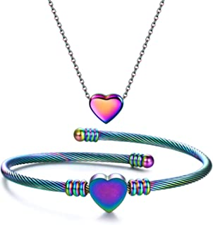 Heart Jewelry Set Stainless Steel Necklace Bracelet for...