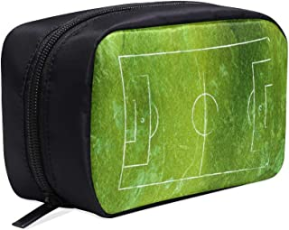 Soccer Field Football Field Portable Travel Makeup Cosmetic Bags Organizer Multifunction Case Small Toiletry Bags For Women And Men Brushes Case