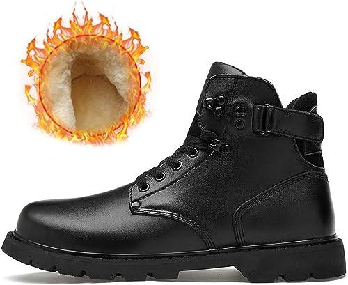 Shufang-chaussures Bottines de Motard pour Hommes à la Mode Décontracté Classic Outsole Hiver Coton à L'intérieur Botte (Couleur   Warm noir, Taille   37 EU)