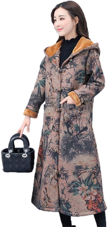 Beltnossnk Retro Plate Buckle Windbreaker Long Thicker Plus Cashmere Hooded Overcoatl