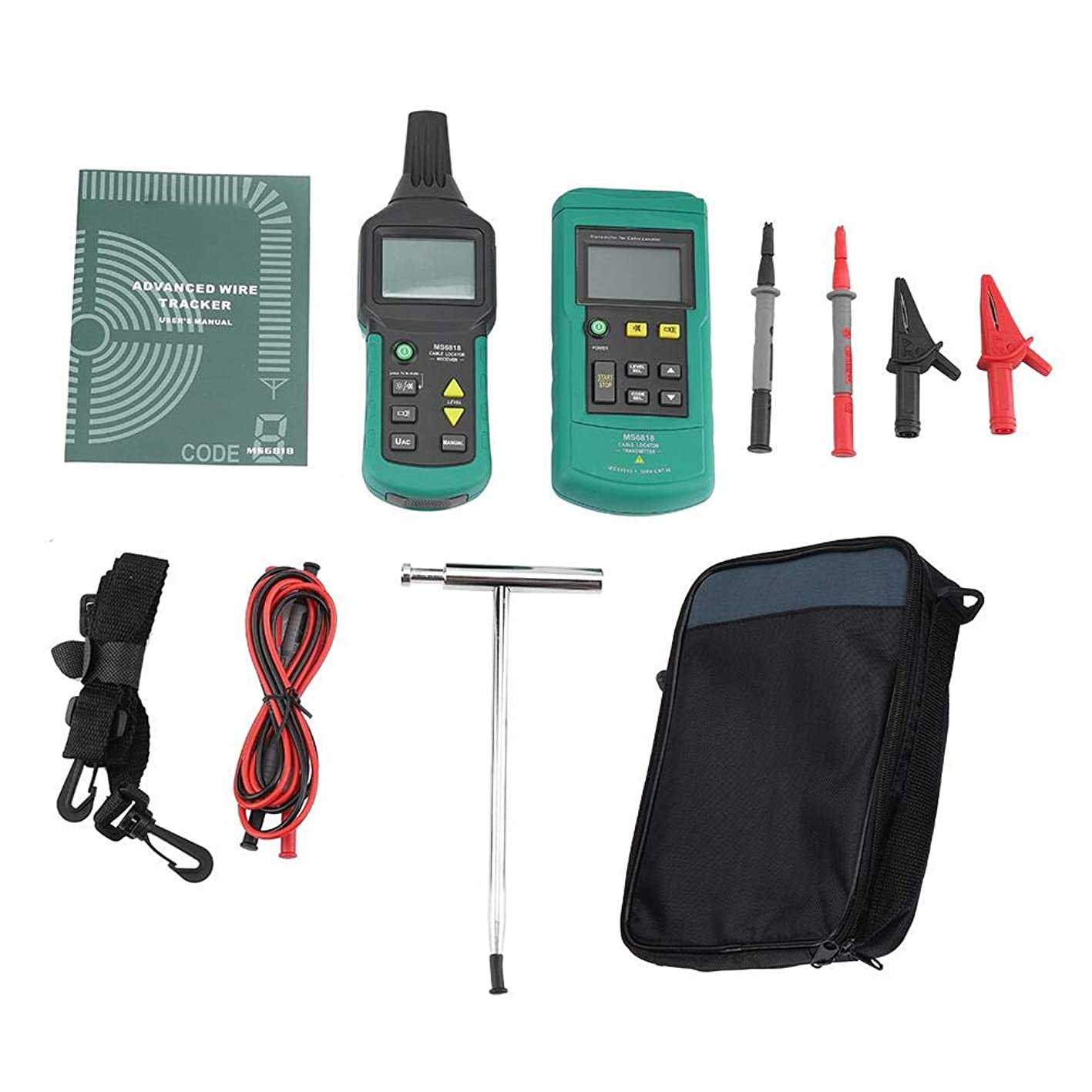 Walfront Cable Locator, MS6818 12V-400V AC/DC Underground Wire Cable Locator Metal Pipe Detector Tester Line Tracker Cable Location Device Easily Cable Finder lczyczbpilj416