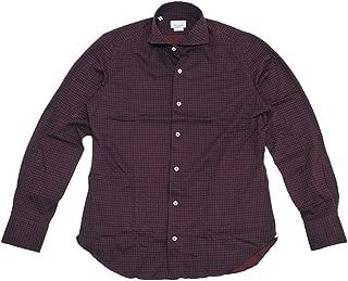 (ジャンネット)GIANNETTO 長袖シャツ メンズ カジュアルシャツ ボルドー & ネイビー 正規取扱店