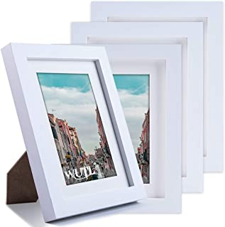 5x7 White Picture Frames Natural Solid Wood Environmental Paint Photo Frame for Table or Wall Decorate, 4 Pack