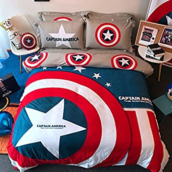 Casa 100% Cotton Kids Bedding Set Boys Captain America Duvet Cover and Pillow Cases and Fitted Sheet,Boys,4 Pieces,Full