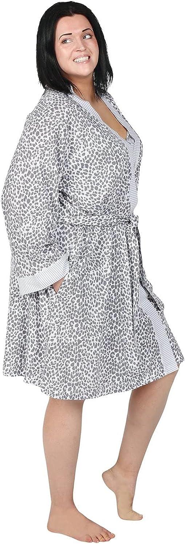 Metropolitan Womens Nightgown Robe Set, Ultra Soft Cotton Knit Sleep Set