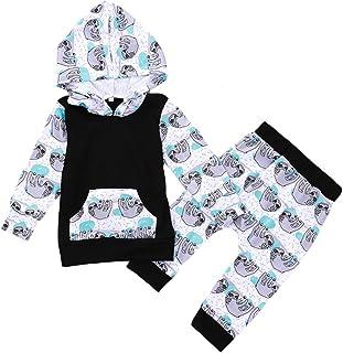 طقم ملابس أطفال من قطعتين للجنسين الرضع والبنات والأولاد كرتون حيوان الكسلان قلنسوة مطابقة سراويل الملابس