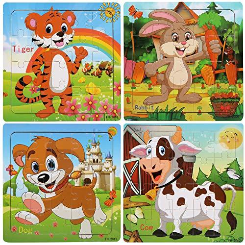 BelleStyle Puzzle di Legno, 20 Pezzi Animali da Puzzle in Legno per 3 Anni i Bambini Educazione Apprendimento Giocattoli Set di 4 (A)