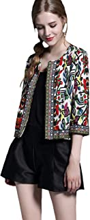 BUENOS NINOS Women's 3/4 Sleeve Ethnic Cardigan Printed Flyaway Jacket Coat