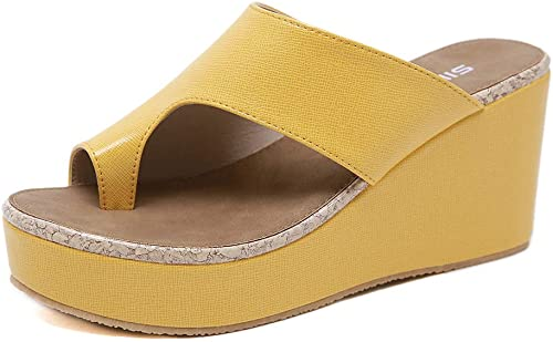 Xuyaowzr Sandales Femme Grande Taille Toe Wedges Slippers
