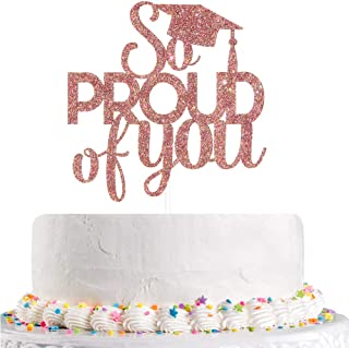 Talorine Rose Gold Glitter So Proud of You Cake Topper, Congrats Grad, Senior, High School Graduation Party Decorations