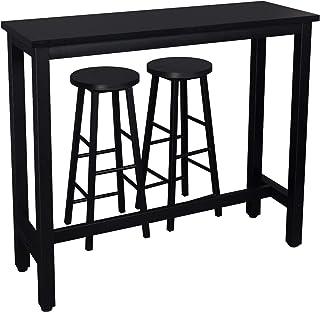 WOLTU 1 X Table de Bar + 2 X tabourets de Bar en MDF et métal,Ensemble de Meuble Industriel de Salle à Manger 120x40x100cm...