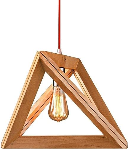 Américain Géométrie Réglable En Bois Massif Pendentif Lumière Magasin De VêteHommests Restaurant Décoration Lustre En Bois Lampe Triangle Cadre En Bois Plafond Lampe (Design   1pcs, Taille   32cm)