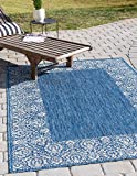 Unique Loom Outdoor Border Collection Traditional Floral Border Transitional Indoor and Outdoor Flatweave Blue  Area Rug (6' 0 x 9' 0)